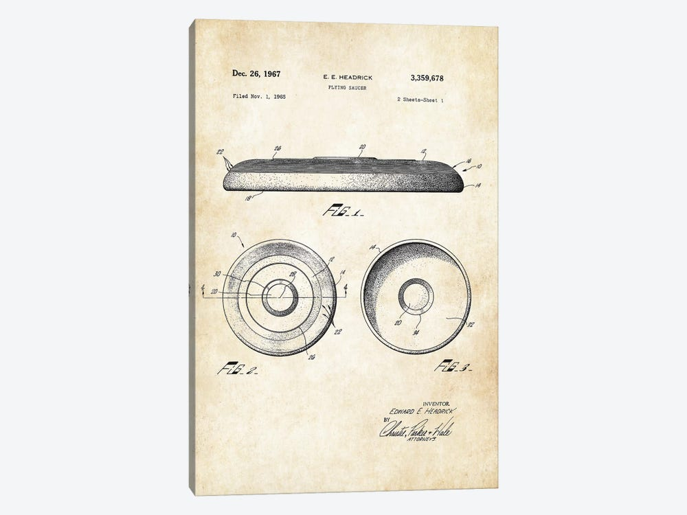 Frisbee Flying Saucer by Patent77 1-piece Canvas Art