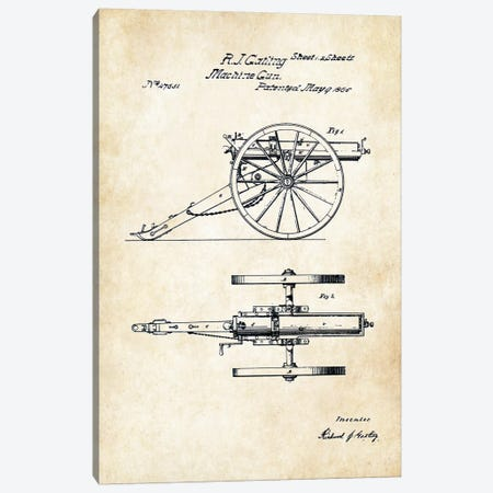 Gatling Machine Gun (1865) Canvas Print #PTN122} by Patent77 Canvas Artwork