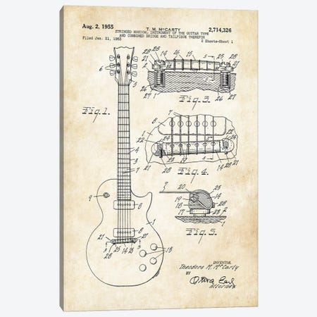 Gibson Les Paul Guitar (1955) Canvas Print #PTN123} by Patent77 Canvas Art