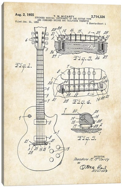 Gibson Les Paul Guitar (1955) Canvas Art Print