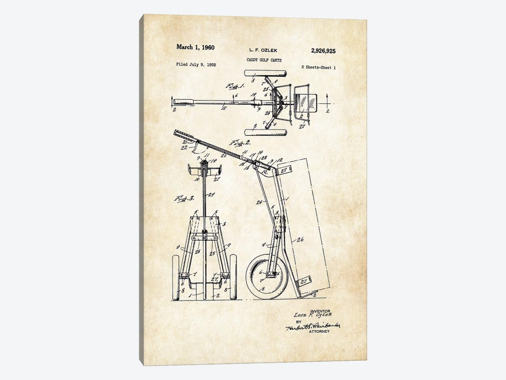 Golf Caddy Cart by Patent77 1-piece Canvas Art