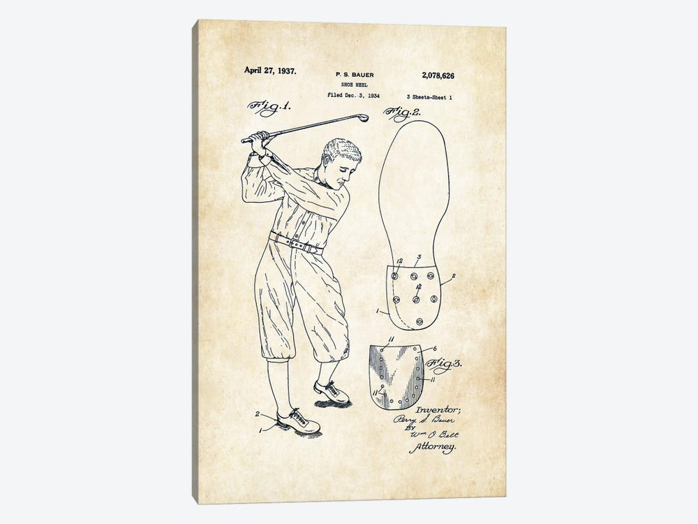 Golf Cleats by Patent77 1-piece Canvas Print