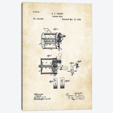 Antique Fishing Reel Canvas Print #PTN12} by Patent77 Canvas Art