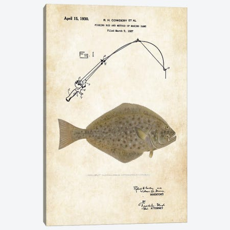 Halibut Fishing Lure Canvas Print #PTN133} by Patent77 Art Print
