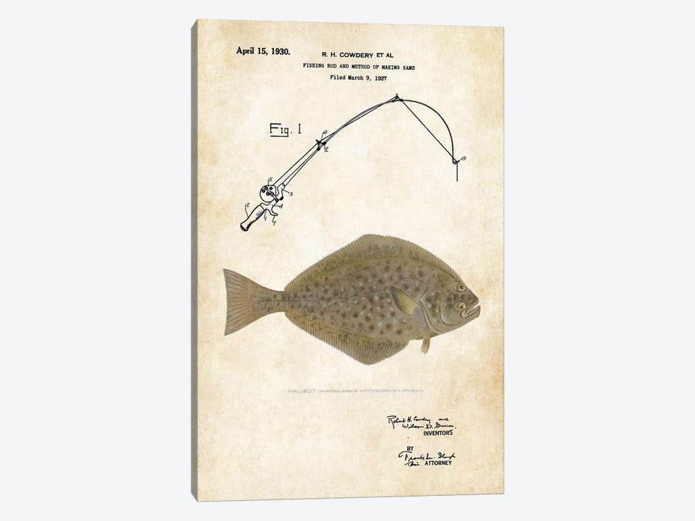 Halibut Fishing Lure by Patent77 1-piece Canvas Wall Art