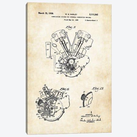 Harley Davidson Knucklehead Engine Canvas Print #PTN136} by Patent77 Canvas Art