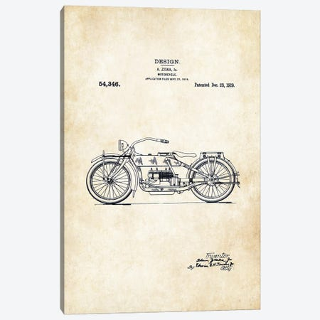 Harley Davidson Motorcycle (1919) Canvas Print #PTN137} by Patent77 Canvas Art