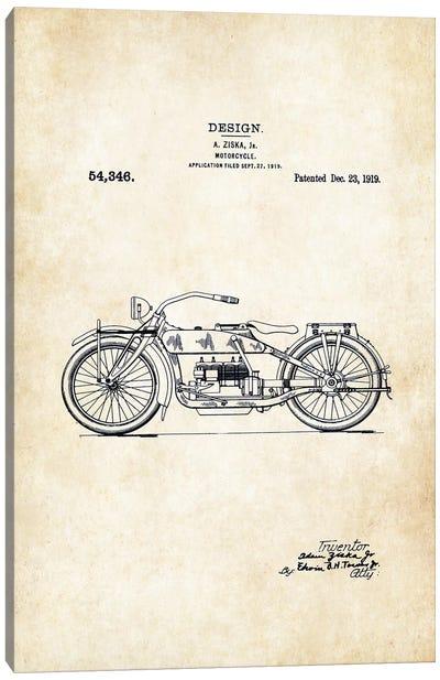 Harley Davidson Motorcycle (1919) Canvas Art Print