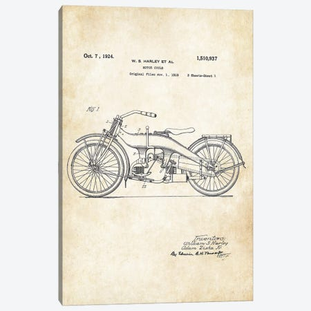Harley Davidson Motorcycle (1924) Canvas Print #PTN138} by Patent77 Canvas Art Print