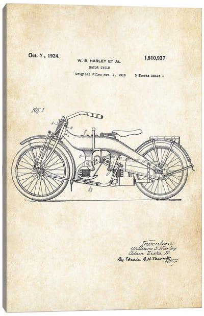 Harley Davidson Motorcycle (1924) Canvas Art Print