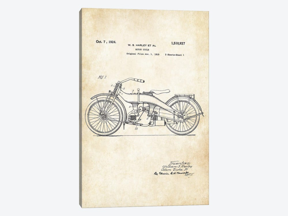 Harley Davidson Motorcycle (1924) by Patent77 1-piece Canvas Art Print