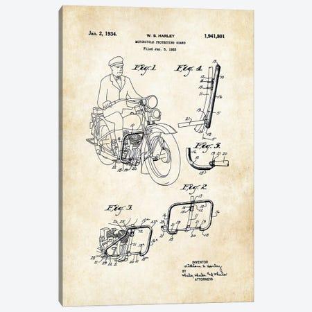 Harley Davidson Motorcycle (1934) Canvas Print #PTN139} by Patent77 Art Print