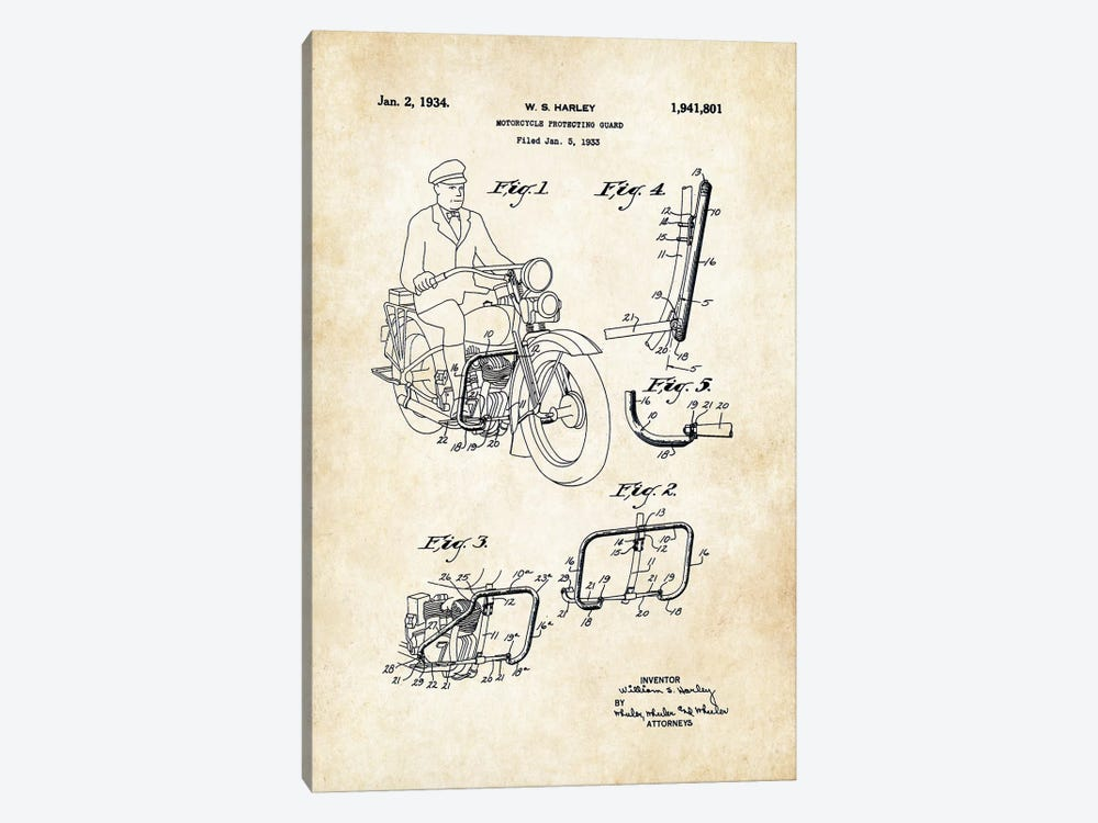 Harley Davidson Motorcycle (1934) by Patent77 1-piece Canvas Art