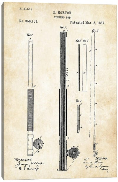 Antique Fishing Rod Canvas Art Print