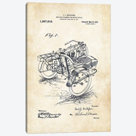Harley Davidson Motorcycle Sidecar (1918) Canvas Print #PTN140} by Patent77 Canvas Art