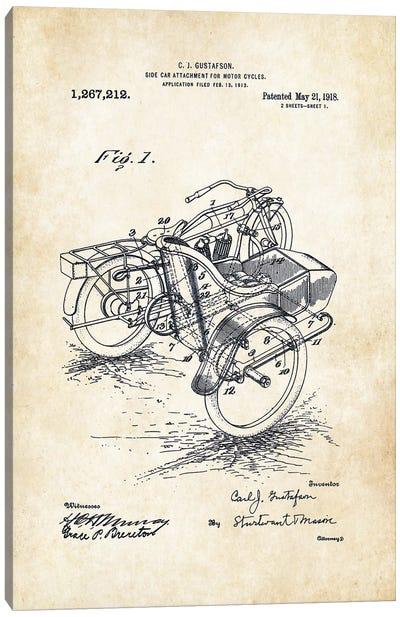 Harley Davidson Motorcycle Sidecar (1918) Canvas Art Print