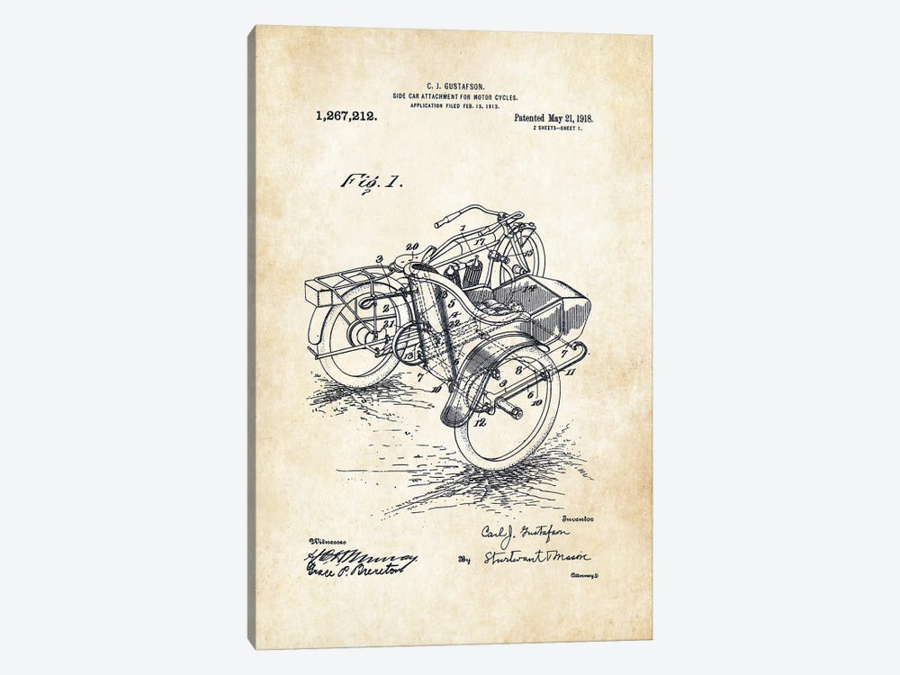 Harley Davidson Motorcycle Sidecar (1918) by Patent77 1-piece Canvas Art