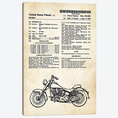 Harley Davidson Superglide Motorcycle Canvas Print #PTN141} by Patent77 Canvas Artwork