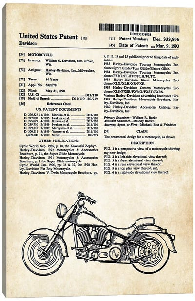 Harley Davidson Superglide Motorcycle Canvas Art Print