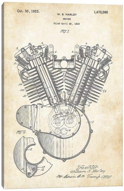 Harley Davidson V Twin Engine Canvas Art Print