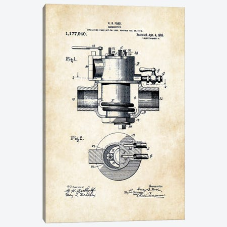 Henry Ford Carbureter Canvas Print #PTN143} by Patent77 Canvas Wall Art
