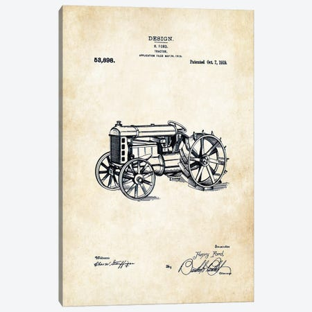 Henry Ford Tractor Canvas Print #PTN145} by Patent77 Art Print