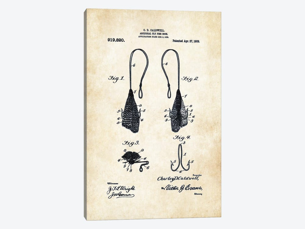 Antique Fly Fishing Hook by Patent77 1-piece Canvas Artwork
