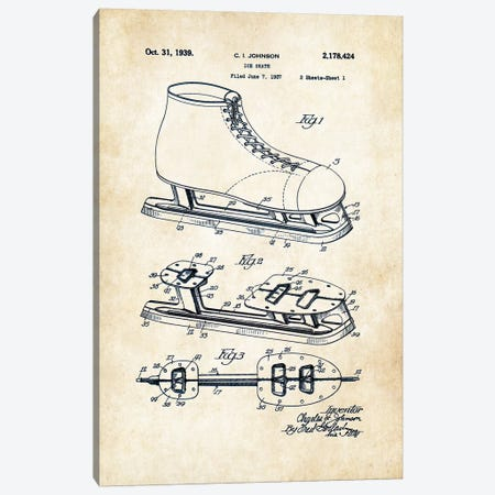Ice Skates Canvas Print #PTN153} by Patent77 Art Print