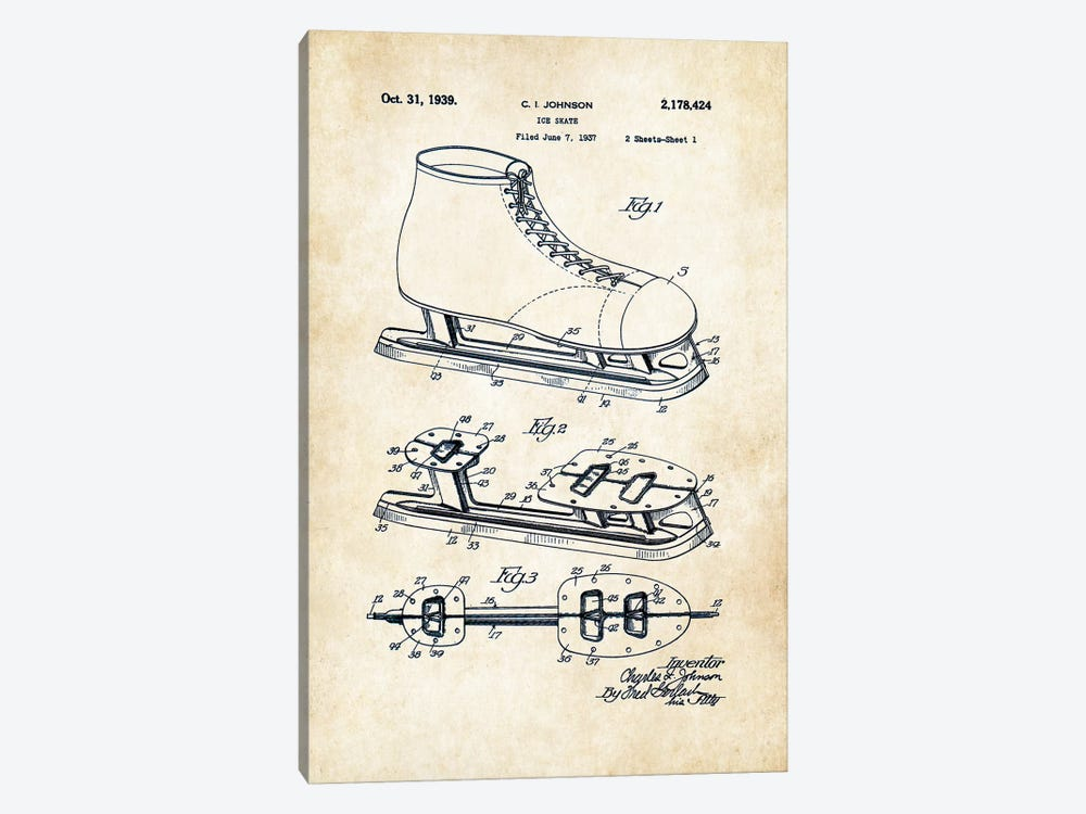 Ice Skates by Patent77 1-piece Canvas Artwork