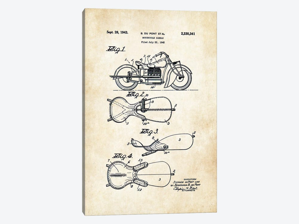 Indian Motorcycle (1943) by Patent77 1-piece Canvas Art