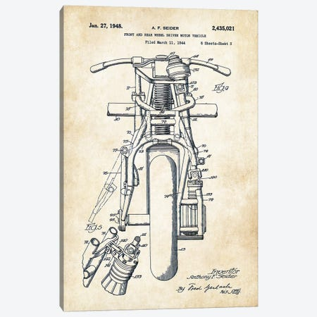 Indian Motorcycle (1948) Canvas Print #PTN156} by Patent77 Canvas Wall Art