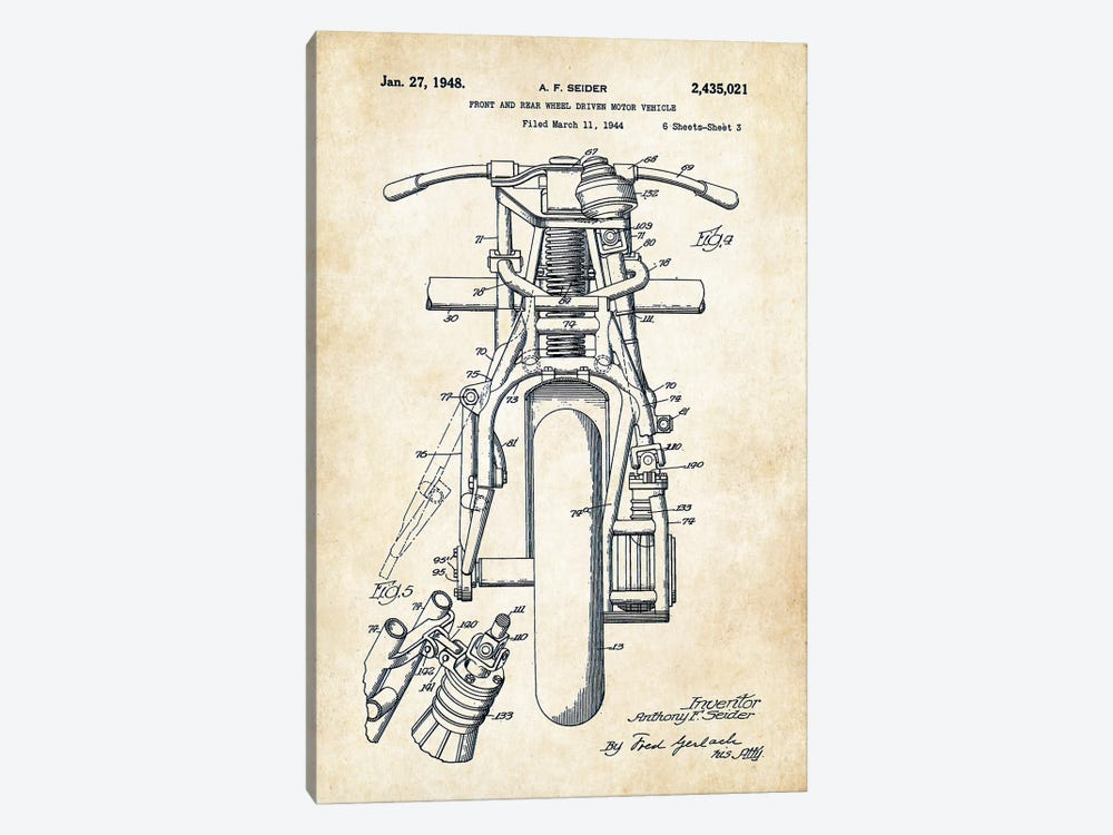 Indian Motorcycle (1948) by Patent77 1-piece Canvas Print