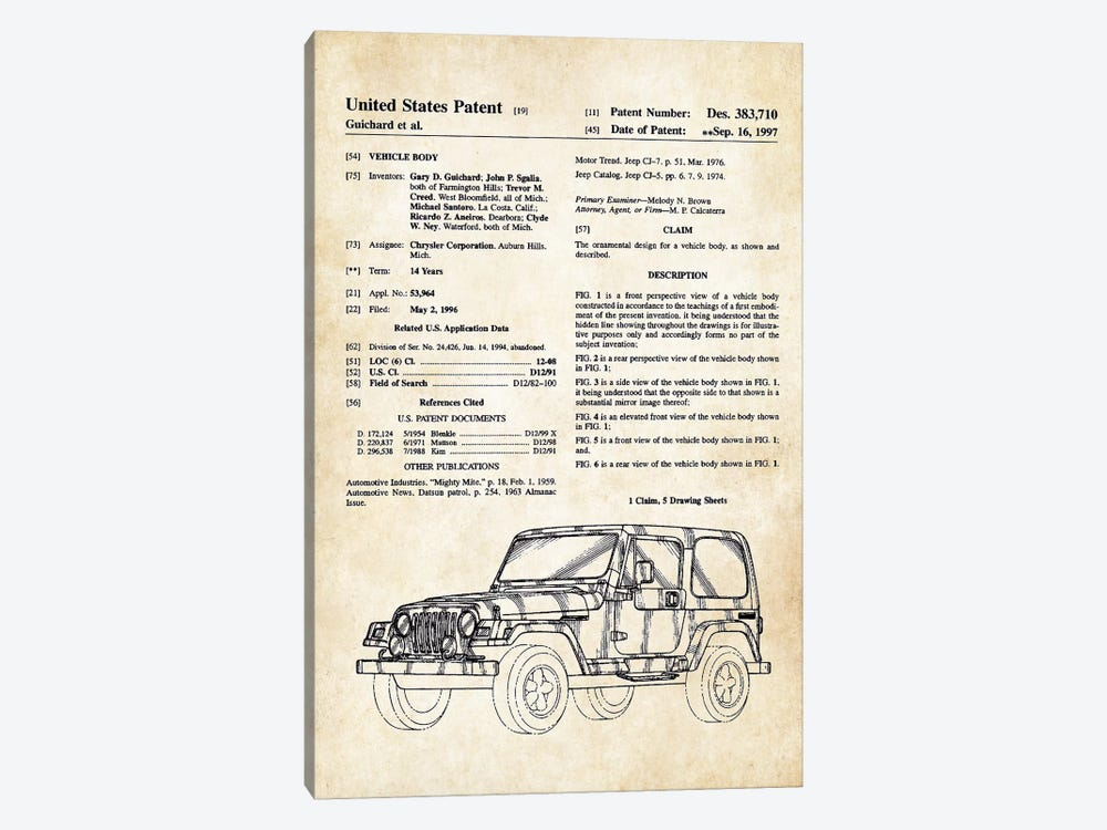 Jeep Wrangler by Patent77 1-piece Canvas Art