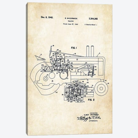 John Deere Tractor Canvas Print #PTN160} by Patent77 Canvas Wall Art