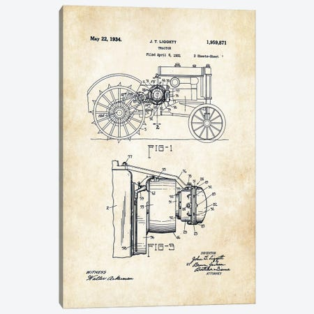 John Deere Tractor (1934) Canvas Print #PTN162} by Patent77 Canvas Art