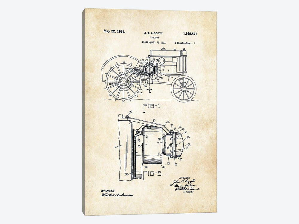 John Deere Tractor (1934) by Patent77 1-piece Canvas Wall Art