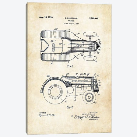 John Deere Tractor (1939) Canvas Print #PTN163} by Patent77 Canvas Artwork