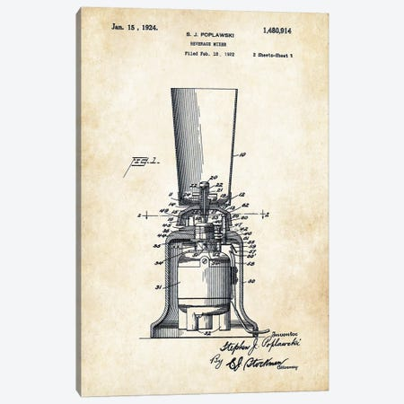 Kitchen Blender (1924) Canvas Print #PTN165} by Patent77 Art Print