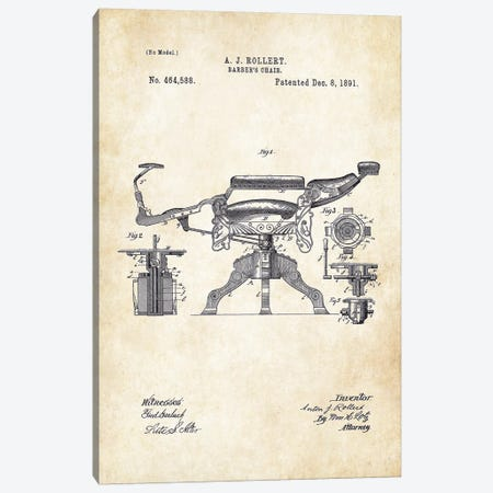 Kochs Barber Chair (1891) Canvas Print #PTN167} by Patent77 Art Print