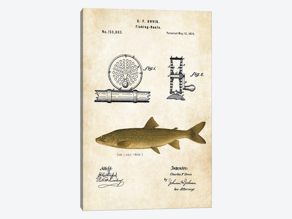 Lake Trout Fishing Lure by Patent77 1-piece Canvas Art Print