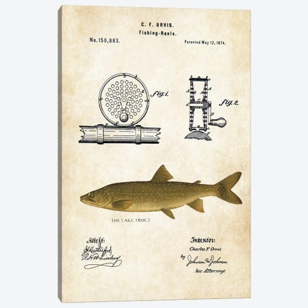 Lake Trout Fishing Lure Canvas Print #PTN169} by Patent77 Canvas Wall Art