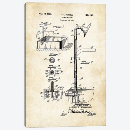 Antique Shower Canvas Print #PTN16} by Patent77 Art Print