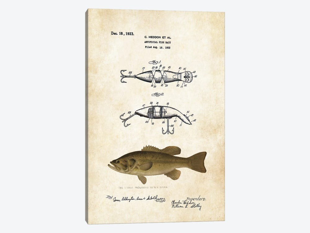 Largemouth Bass Fishing Lure by Patent77 1-piece Canvas Artwork