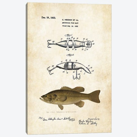 Largemouth Bass Fishing Lure Canvas Print #PTN171} by Patent77 Canvas Art Print