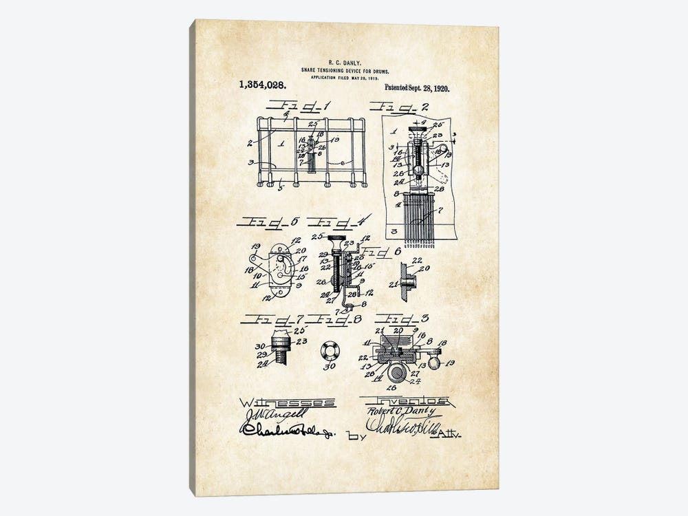 Ludwig Pioneer Snare Drum by Patent77 1-piece Art Print