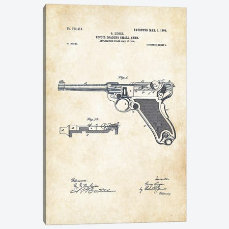 Luger P 08 Pistol Canvas Print #PTN179} by Patent77 Canvas Print