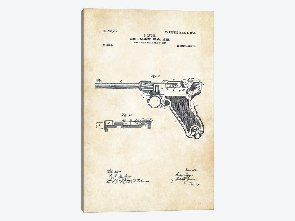 Luger P 08 Pistol by Patent77 1-piece Canvas Artwork