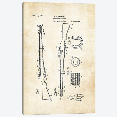 M1 Garand Rifle Canvas Print #PTN180} by Patent77 Canvas Artwork