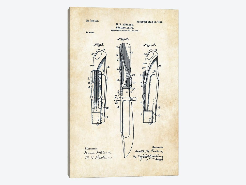 Marble's Safety Folding Knife by Patent77 1-piece Canvas Art Print