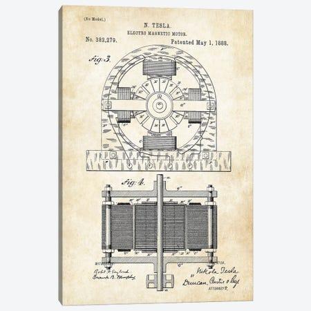 Nikola Tesla Electromagnetic Motor Canvas Print #PTN192} by Patent77 Art Print